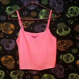 BooHoo Neon Pink Flowy Crop Top